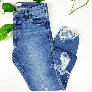 Gap High Rise Slim Straight Denim Jeans Raw Hem
